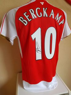 Dennis Bergkamp / Arsenal - Signed Arsenal Shirt in luxury Cover + COA inc Photoproof