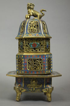 This is an incense burner made of copper and enamel - China - late 20th/21st century