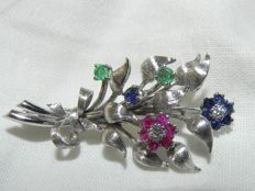 Brooch with emerald, ruby, sapphire, diamond 18 kt 750 gold