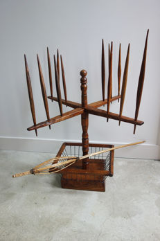 Display with spindles and wooden distaff - Folk Art of Central Europe - mid 20th century
