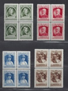 Liechtenstein 1929 - Monarchs - Michel 90/93 in blocks of four