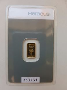Gold bar, 1 gram, Heraeus - 999 fine gold  with certificate and serial number
