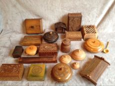 Collection of 20 wooden boxes