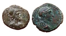 The Roman Empire - Anonymous, period of Domitian to Antoninus Pius - Lot of two Æ Quadrans - Rome mint, struck 81-161 AD - Head Roma / Aequitas - Head of Mars / Cuirass - RIC II, 12 / RIC II, 19