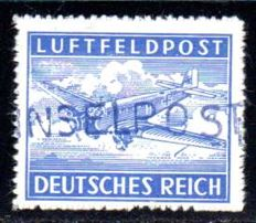 "Field post - 1945 - ""Leros Island"" hand stamped overprint on perforated airmail postal stamp, Michel 11 B a"