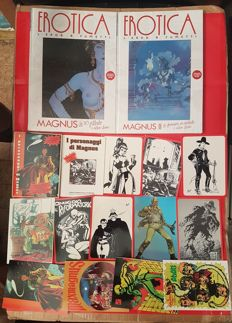 "Magnus - Lot of 12 postcards, complete ""characters"" series + 2 sealed erotic volumes"