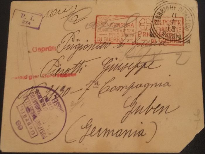 italy, kingdom 1918 – letter (postage exemption) from italian