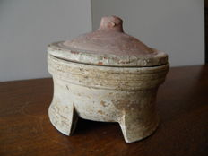 rare Greek circular terracotta pot with lid - dia 100 mm