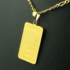 14 K Gold Chain + 2.5G  24 K Fine Gold Bullion Bar  Pendant,