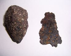 Chondrite Meteorites - 50 x 32 x 20 mm - 37 g and 54 x 28 x 3 mm - 8 g (2)