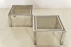 Hollywood Regency style - 2 Italian Brass & Chrome side tables