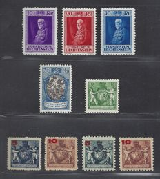 Liechtenstein 1924/1934 - Selection - Michel 61A/62A, 61B/62B, 63, 64 and 122/124