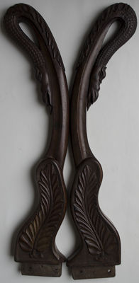 2 carved snakes in mahogany. France. End of the 19th century, France