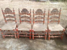 Set of 4 Majorcan chairs - Spain - 19th century