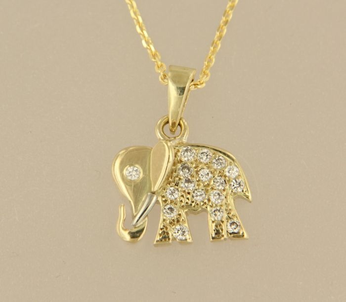 14 kt yellow gold necklace with gold elephant pendant set with 17 14 kt yellow gold necklace with gold elephant pendant set with 17 diamonds necklace length aloadofball Images