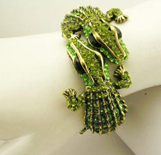 "Signed Kenneth Jay Lane - Spectacular Double Alligator clamper bracelet with crystals ""Couture Collection"""
