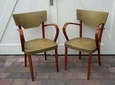 Producer unknown - 2 vintage chairs with curved wooden armrests