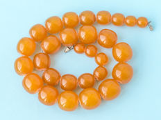 Baltic Amber necklace, old honey butterscotch Amber, 90 gram