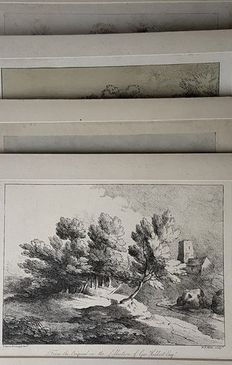 4 prints by William Frederick Wells (1762 - 1836) & John Laporte (1761 – 1839) after designs by Gainsborough - 4 landscapes - 19th century