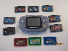 Gameboy advance including 10 good games like 3 times Pokemon, Donkey Kong and more