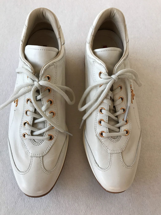 White gym shoes by Prada