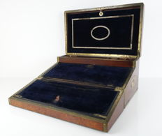 Burr walnut three-part luxury writing box - large model - Ca. 1900 - England