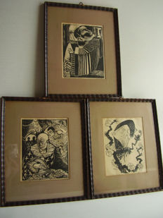 Jozef Cantré and 2 other artists - 3 titled woodcuts