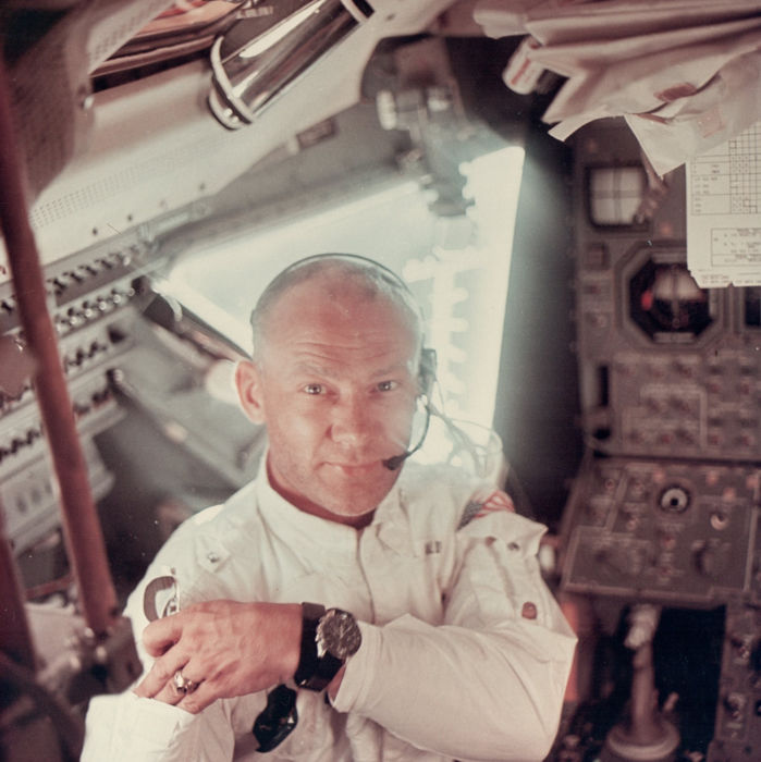 NASA - Apollo 11 -  Buzz Aldrin - Interior view of the Apollo 11 Lunar Module - 1969