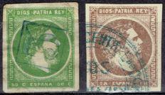 Spain 1875 – Carlist Post. 50 ct green and brown Real – Edifil 160, 161.