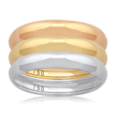 18KT Three Tone BRAND NEW White,Yellow &,Pink Gold (Set of 3) wedding bands, size N/54, 3.50mm width each no reserve