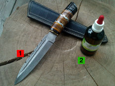 1 large Damascus steel hunting knife/outdoor/camping - length 29.7 cm + 100 ml Camellia care oil to maintain the handle and the blade