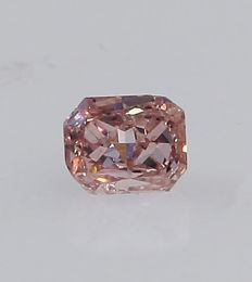 0.08 ct. Cut - Cornered Rectangular Modified Brilliant Natural Diamond - Fancy Orangy Pink