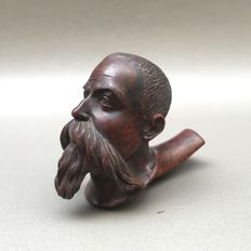 """Very finely carved figural wooden pipe """"Napoleon III"""" - France, ca. 1860"""