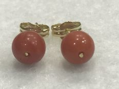 18 kt. Gold earrings with Mediterranean coral - Handmade - 5 mm coral