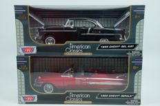Motor Max - Scale 1/18 - Lot with 1 x Chevrolet Bel Air & 1 x Chevrolet Impala  - Red / Black
