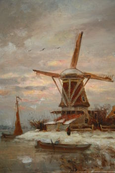 F. de Boer (20th century) - Boerin in de winter