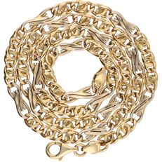 14 kt - Bi-colour, yellow/white gold figaro link necklace - Length: 47 cm