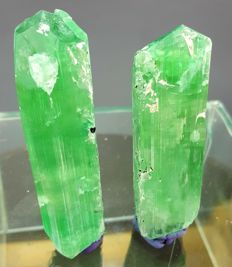 Pair of Lush Green Kunzite Crystals with Black Tourmaline Inclusions  - 90 gm (2)
