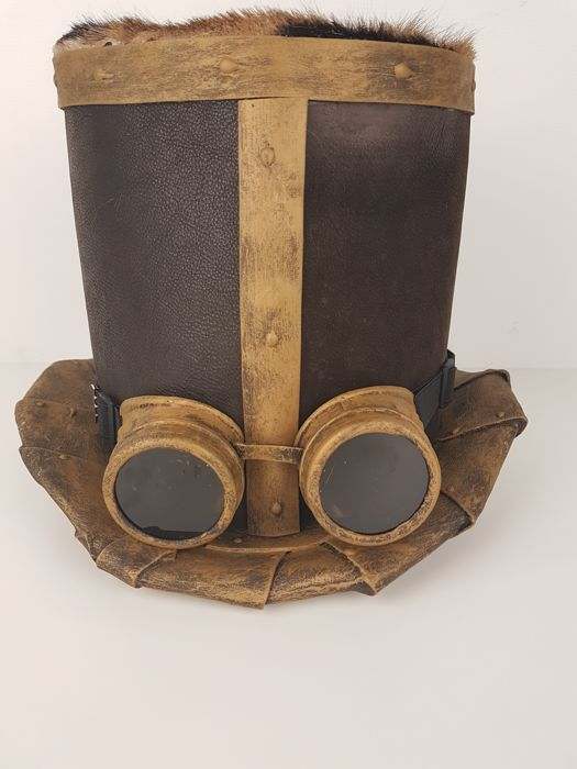 Steampunk top hat with goatskin