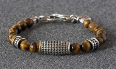Men's bracelet - Sterling Silver & Tiger Eye - 22cm