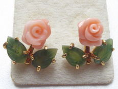 Yellow gold-plated vintage ear studs with carved jade leaves and angelskin coral roses