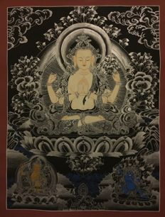 Hand painted Thangka painting, representing Chenrezig - Tibet/Nepal - late 20th century