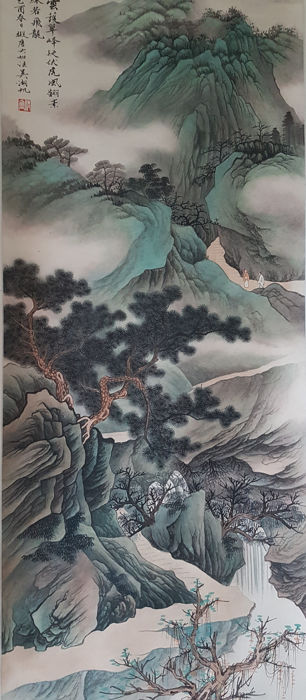 Hand-painted ink scroll painting《吴湖帆-雲護翠峰》,- China - late 20th century