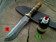1x Damascus - hunting/ outdoor/ camping knife - length 32 cm - handmade + 100 ml Camellia care oil to maintain the blade and the handle