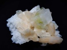Green Apophyllite crystal with Stilbite on white Chalcedony - 8 x 7 cm - 147 gm
