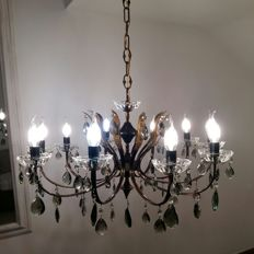 Maria Theresa style 10-light artistic chandelier - original vintage from the 1960s - with smoked grey coloured drops