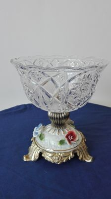Antique glass stand with base in brass and porcelain
