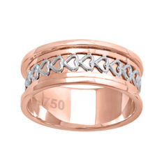 18 K Two tone wide wedding pink gold ring with white gold heart pattern design , size 54/N