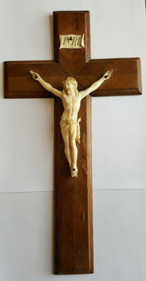 French Dieppe carved ivory Corpus Christi on wooden cross - late 19th Century