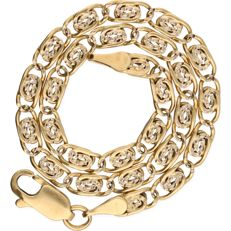 18 kt - Yellow gold, decorated, curb link necklace – length: 21 cm
